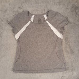 Danskin Now Gray White Activewear Tee